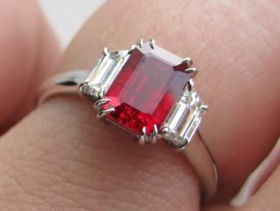 Emerald-cut Ruby Ring
