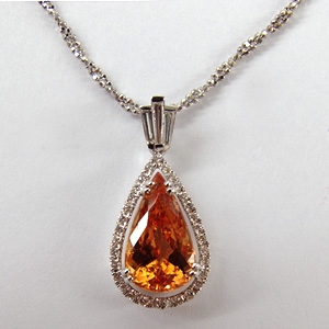 Imperial Topaz 18k White Gold Pendant with Chain