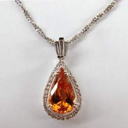 Imperial Topaz Pendant In 18k White Gold