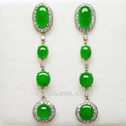 6.92 ct Burma Jade and Diamond Earrings