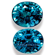 7.09 ct Blue Zircon Matched Pair from Cambodia