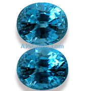 12.52 ct Matched Pair of Blue Zircons from Cambodia
