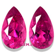 2.11 ct Matched Pair of Rubellite Tourmalines from Mozambique