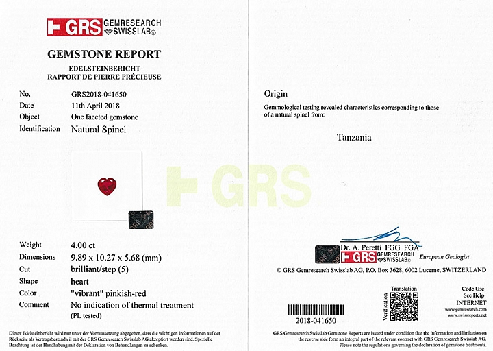 GRS- certificate vibrant pinkish-red