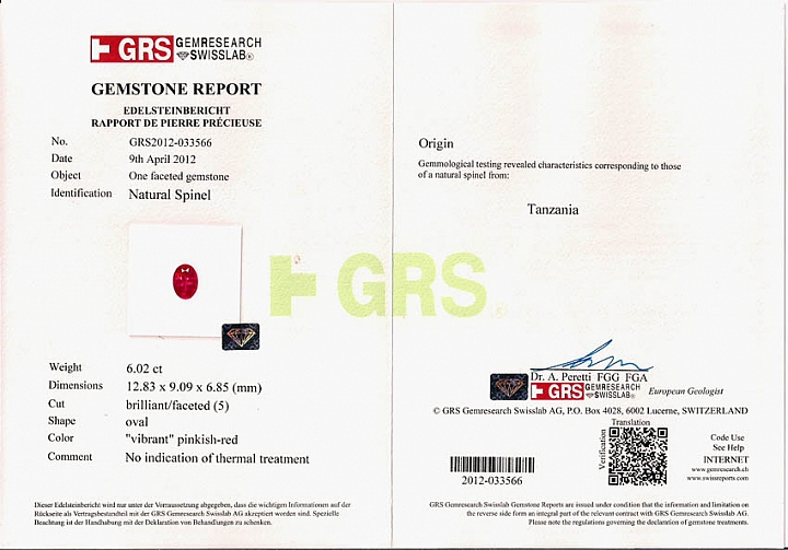 6.02 ct Mahenge Spinel GRS Certificate