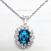 7.57 ct Blue Zircon and Diamond Pendant