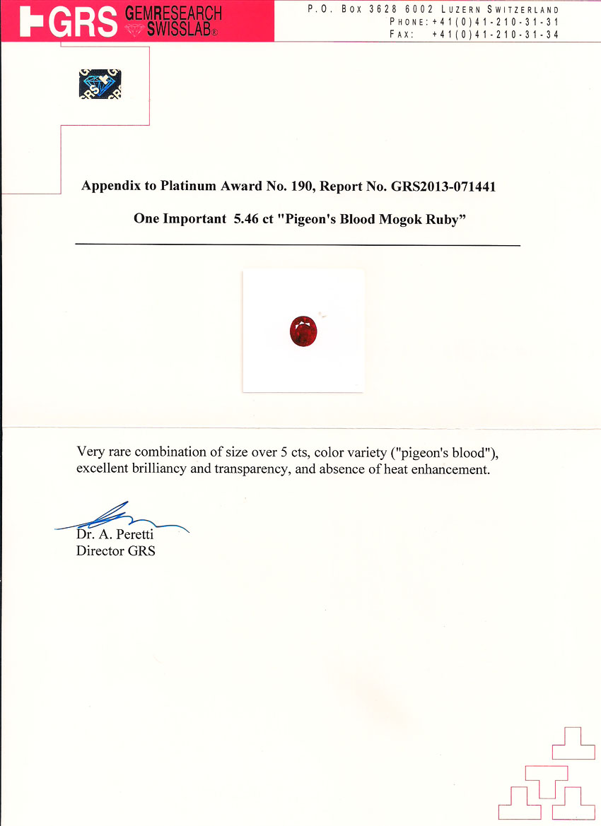 5.46 ct Ruby GRS Certificate Appendix