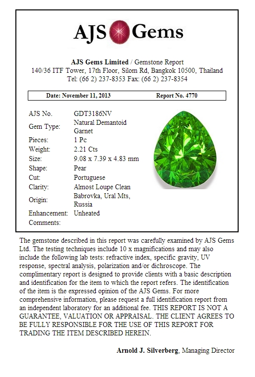 2.21 ct Demantoid Garnet Certificate