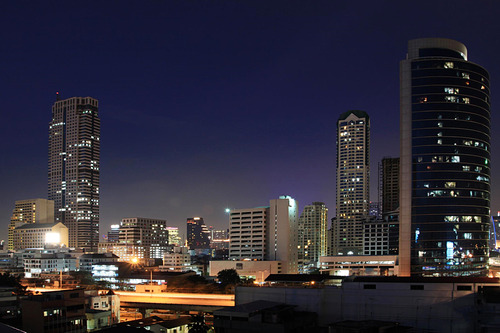 Bangkok skyline, with Jewelry Trade Center on the left side