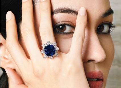 13.88 ct Kashmir Sapphire and Diamond Ring