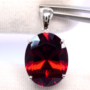 17.09 ct Malaia Garnet in 14k white gold pendant
