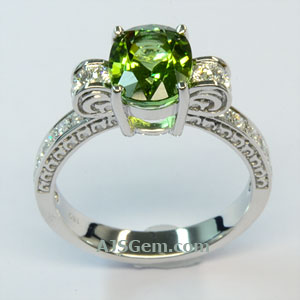 2.15 ct Green Tourmaline and Diamond Ring