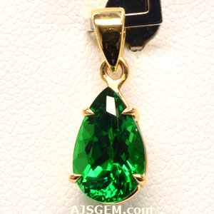 2.37 ct Tsavorite Garnet Pendant in 18k Yellow Gold