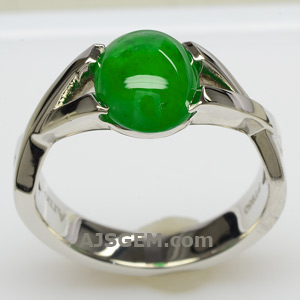 2.39 ct Imperial Jade Ring in Platinum