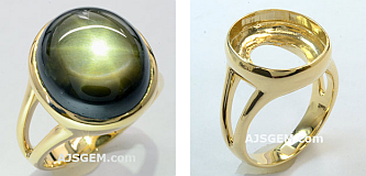20.12 ct Black Star Sapphire Ring in 14k Yellow Gold