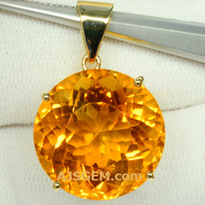 24.07 ct Madeira Citrine in 14k Yellow Gold Pendant