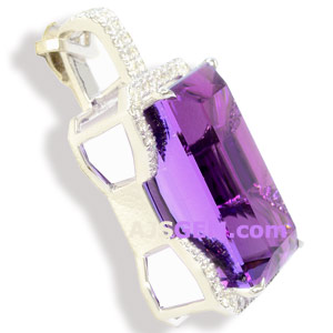 24.60 ct Amethyst Pendant in 14k White Gold, side view
