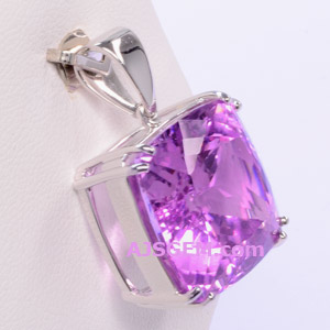 29.30 ct Kunzite in 14k White Gold Pendant side view