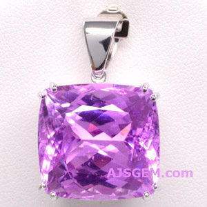 29.30 ct Kunzite in 14k White Gold Pendant
