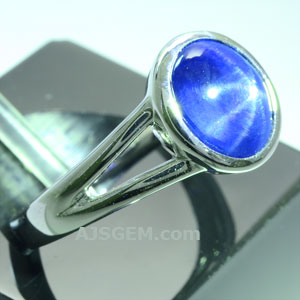 3.17 ct Unheated Blue Star Sapphire in 18k White Gold side view