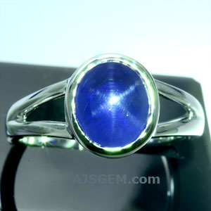3.17 ct Unheated Blue Star Sapphire in 18k White Gold