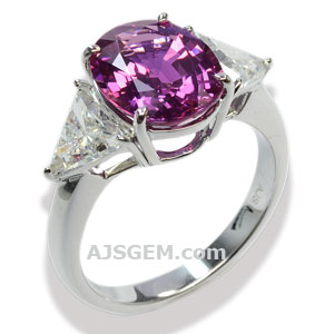 4.17 ct Pink Sapphire Ring in 18k White Gold, side view
