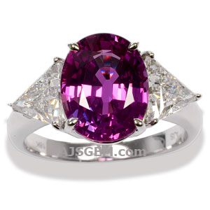 4.17 ct Pink Sapphire Ring in 18k White Gold