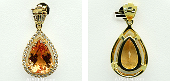 4.91 ct Imperial Topaz Pendant in 18k Yellow Gold