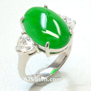 6.64 ct Imperial Jade and Diamond Ring, side view