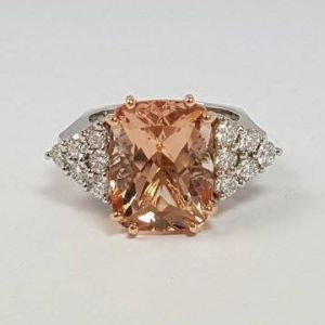 7.88 ct Morganite and Diamond Ring in Platinum