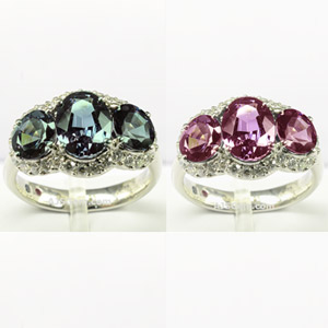 Alexandrite and Diamond Ring in 18k White Gold