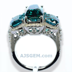 8.59 ct Blue Tourmaline Ring in 18k White Gold front view