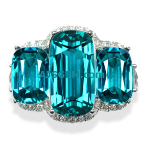8.59 ct Blue Tourmaline Ring in 18k White Gold