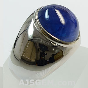 17.74 ct Blue Sapphire Cabochon Silver Ring side view