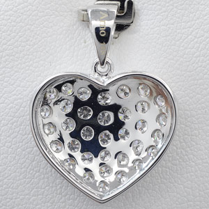 18k White Gold Diamond Pendant back view
