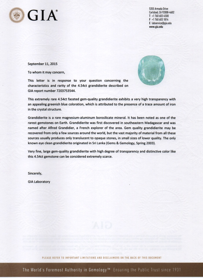 GIA Notable Letter 4.54 ct Grandidierite