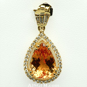 4.91 ct Imperial Topaz and Diamond Pendant