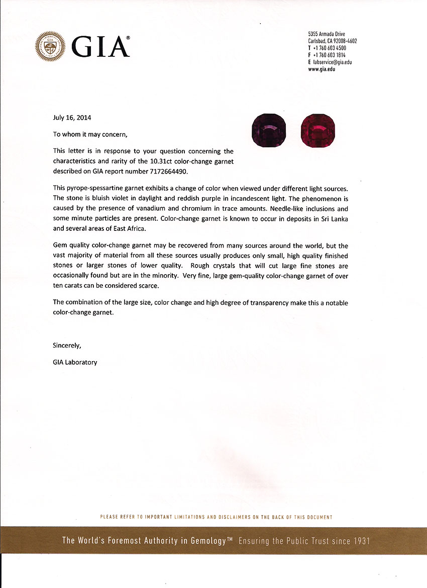 GIA Notable Letter 10.31 ct Color Change Garnet
