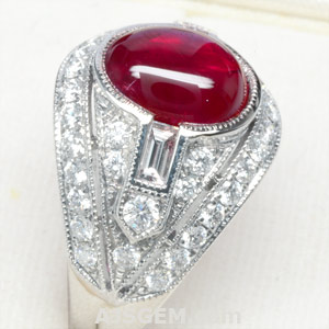 5.02 ct Burma Star Ruby and Diamond Ring side view