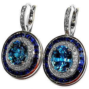 12.52 ct Blue Zircon earrings in 18k White Gold angle view
