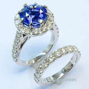 Blue Sapphire and Diamond Engagement Ring Set