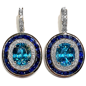 12.52 ct Blue Zircon Earrings in 18k White Gold