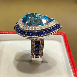14.29 ct Blue Zircon Ring in 18k White Gold, side view