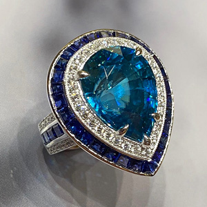 14.29 ct Blue Zircon Ring in 18k White Gold
