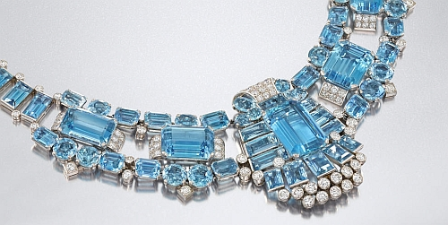 Cartier Aquamarine and Diamond Necklace