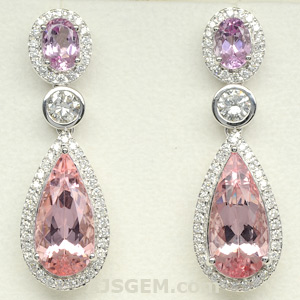 Morganite, Pink Topaz and Diamond Earrings