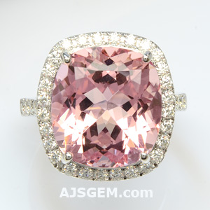 9.78 ct Pink Morganite and Diamond Ring