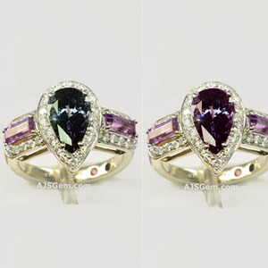 Alexandrite, Amethyst and Diamond Ring in 18k White Gold