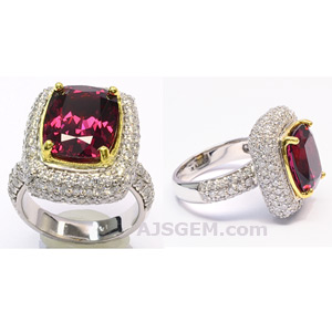 7.75 ct Rhodolite Garnet and Diamond Ring