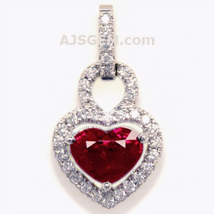 2.03 ct Burma Ruby and Diamond Pendant